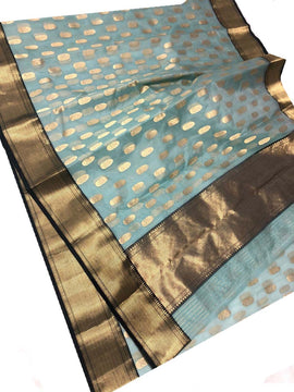 Grey Handloom Chanderi Katan Silk Saree