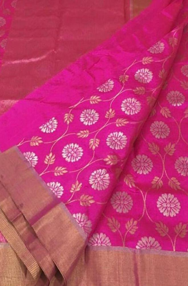 Pink Handloom Chanderi Pure Silk Floral Design Sona Roopa Saree With Self Border