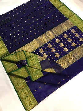 Blue Handloom Chanderi Pure Katan Silk Ghani Booti Saree