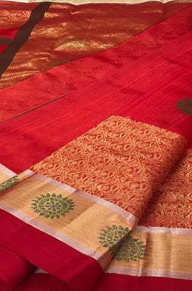Red Handloom Chanderi Pure Silk Saree