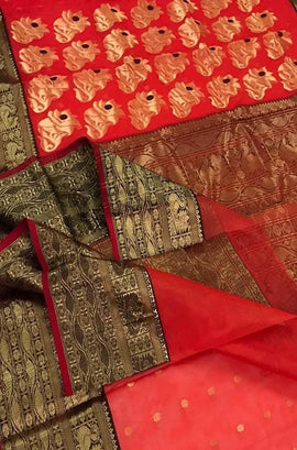 Red Handloom Chanderi Pure Katan Silk Saree