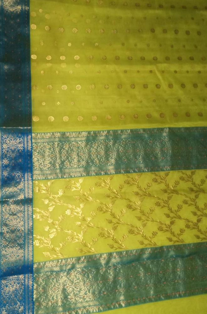 Yellow Handloom Chanderi Pure Katan Silk Ghani Booti Saree