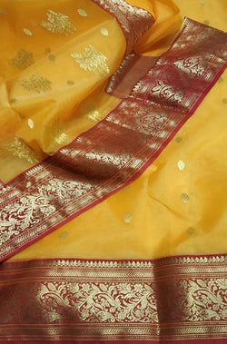 Yellow Handloom Chanderi Pure Katan Silk Saree With Red Contrast Border - Luxurionworld