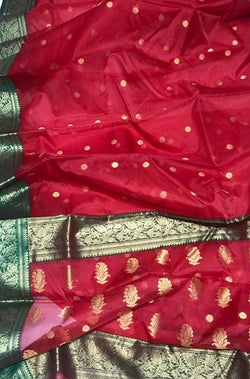 Red Handloom Chanderi Pure Katan Silk Ghani Booti Saree