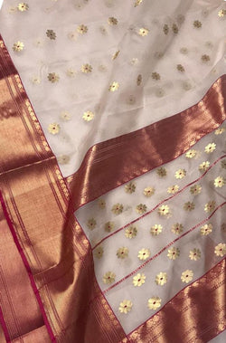 Off White Handloom Chanderi Pure Katan Silk Ghani Booti Meena Motif Saree - Luxurionworld