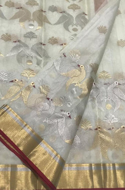 Off White Handloom Chanderi Pure Katan Silk Sona Roopa Bird Design Saree - Luxurionworld