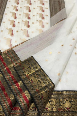 Off White Handloom Chanderi Katan Silk Meena Motif Saree - Luxurionworld