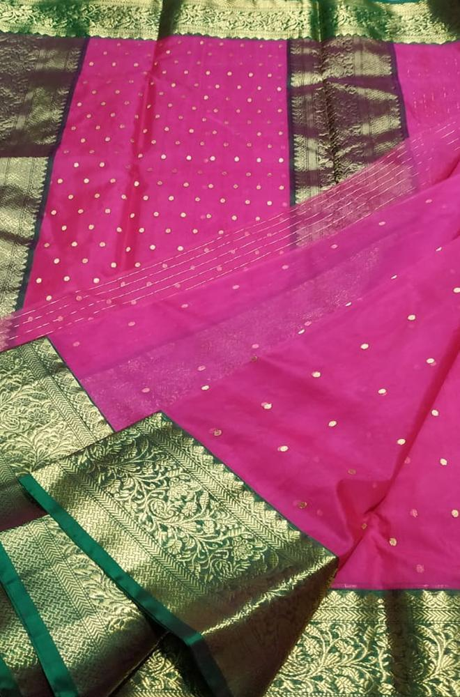 Pink Handloom Chanderi Pure Katan Silk Ghani Booti Saree With Green Contrast Border