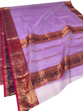 Purple Handloom Chanderi Pure Katan Silk Ghani Booti Saree