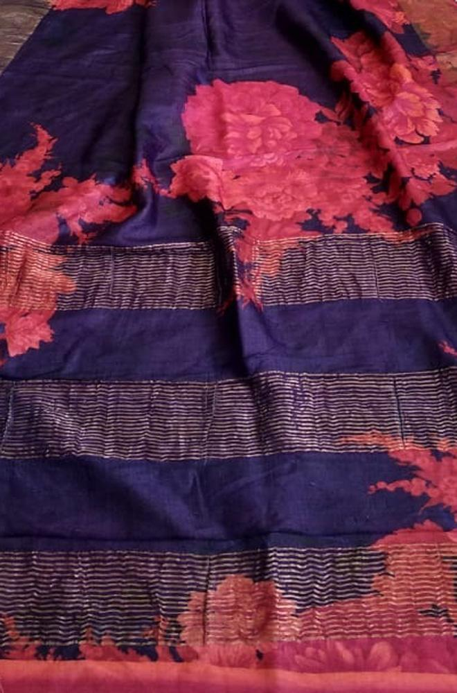 Purple and Pink Digital Printed Tussar Ghicha Silk Saree