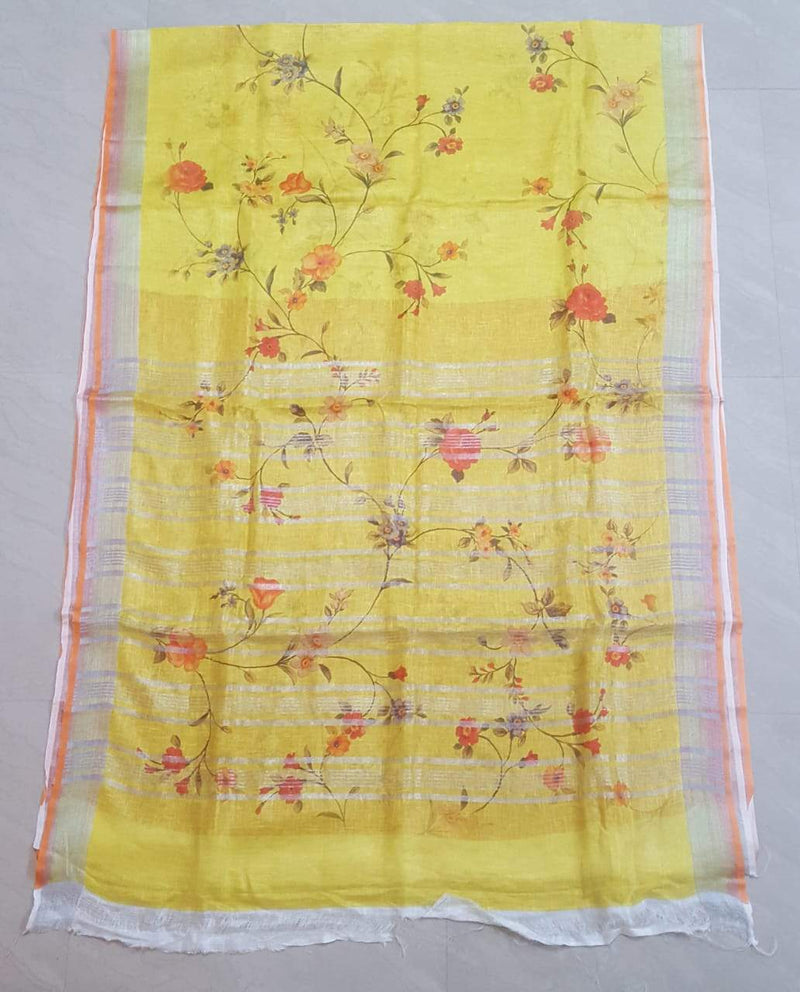 Yellow  Digital Printed Pure Linen Saree