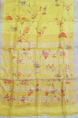Yellow_Digital_Printed_Pure_Linen_Saree