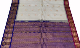 Off White Handloom Gadwal Pure Silk Saree With Ganga Jamuna Border