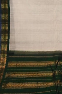 Off White Handloom Gadwal Silk Cotton Saree - Luxurionworld