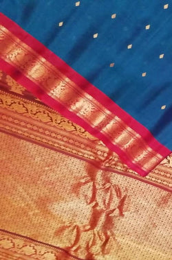 Blue Handloom Gadwal Silk Cotton Saree - Luxurionworld