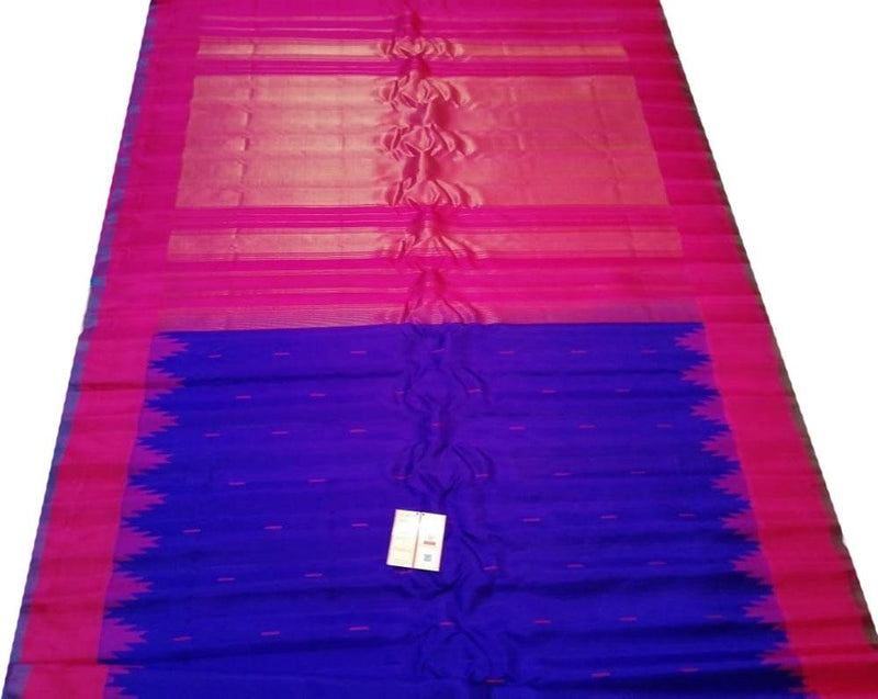 Blue Handloom Gadwal Pure Silk Saree With Pink Contrast Border