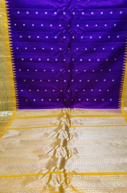 Blue Handloom Gadwal Pure Silk Saree