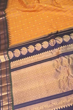 Orange Checks Handloom Gadwal Silk Cotton Saree With Temple Border - Luxurionworld