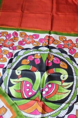 Orange Hand Painted Murshidabad Silk Saree - Luxurionworld