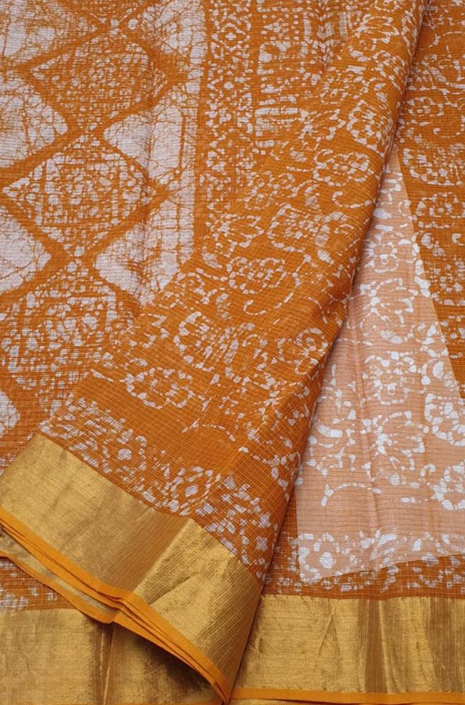 Orange Hand Block Printed Kota Pure Cotton Saree - Luxurionworld