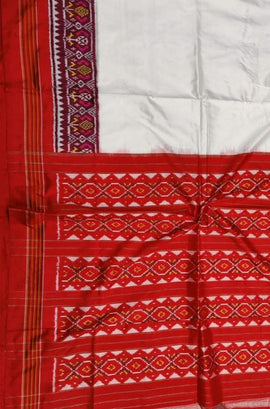 Off White Handloom Ikat Pure Silk Saree