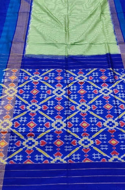 Green Handloom Double Ikat Pochampally Pure Silk Saree