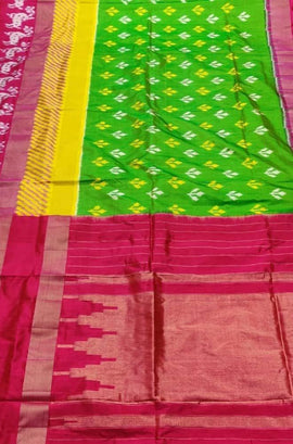 Green Handloom Ikat Pochampally Pure Silk Saree