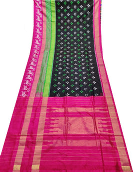 Black Handloom Ikat Pochampally Pure Silk Saree