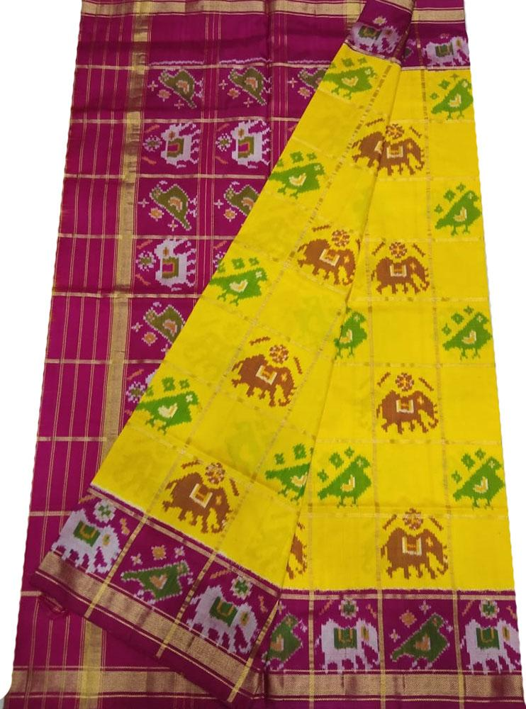 Yellow Checks Handloom Ikat Pure Silk Saree - Luxurionworld