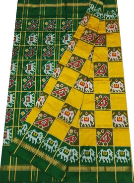 Yellow and Green Checks Handloom Ikat Pure Silk Saree
