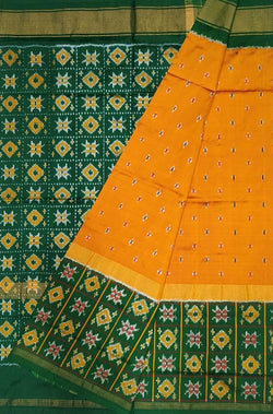 Orange Handloom Ikat Pure Silk Saree