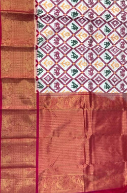 Off White Handloom Ikat Pure Silk Figure Work Saree With Kanjeevaram Border - Luxurionworld