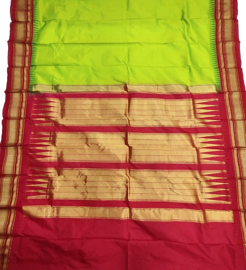 Green Handloom Ilkal Pure Silk Plain Saree