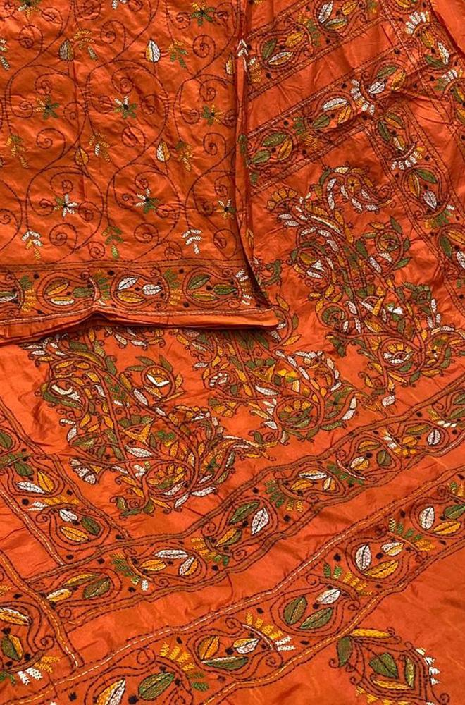 Orange Hand Embroidered Kantha Bhagalpur Silk Saree - Luxurionworld