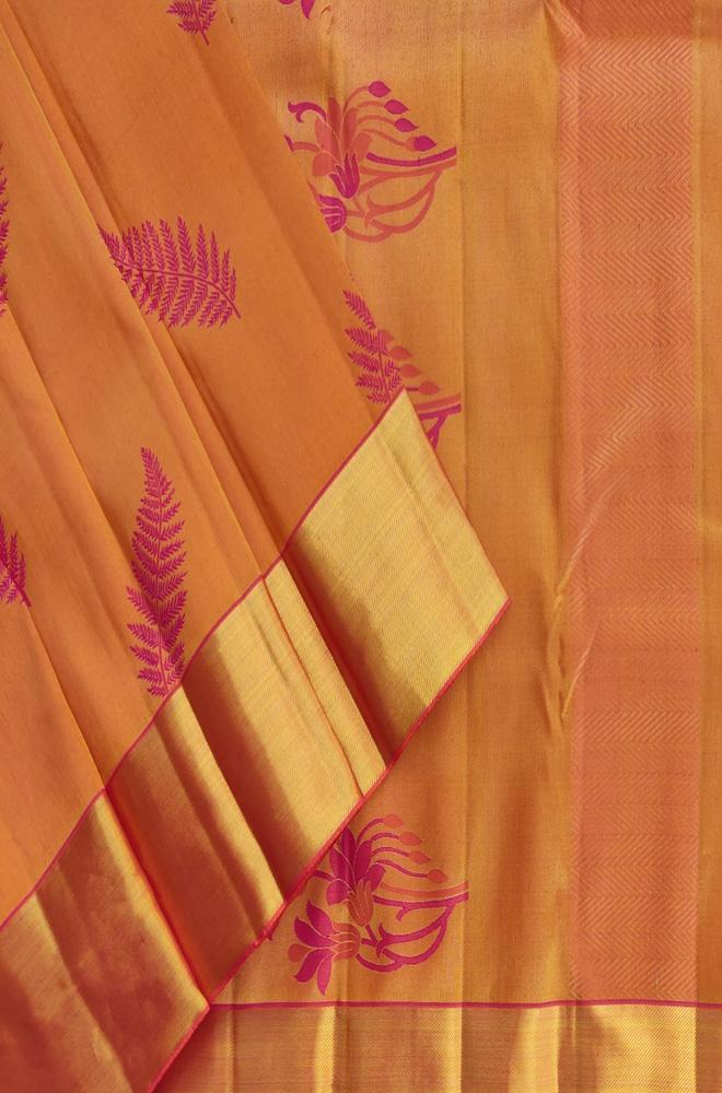 Orange Handloom Kanjeevaram Pure Silk Leaf Design Saree - Luxurionworld
