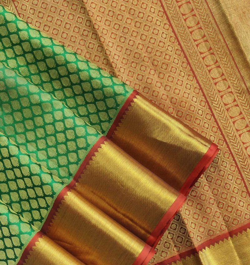 Green  Handloom Kanjeevaram Pure Silk Saree