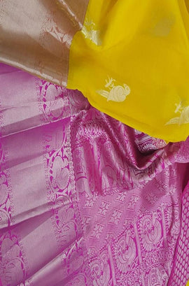 Yellow Handloom Kanjeevaram Kora Silk Parrot Design Big Border Saree - Luxurionworld