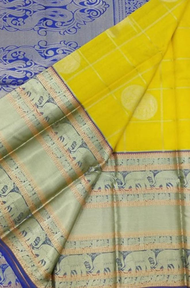 Yellow Handloom Kanjeevaram Kora Silk Elephant Design Checks Saree Big Border