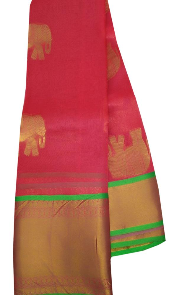 Pink Handloom Kanjeevaram Organza Elephant Design Saree - Luxurionworld