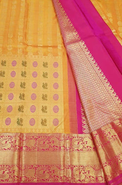 Yellow Handloom Kanjeevaram Pure Silk Saree With Animal & Bird Design Big Border