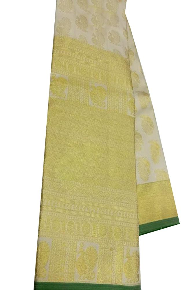 Off White Handloom Kanjeevaram Pure Silk Peacock Design Saree - Luxurionworld