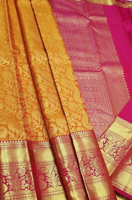Orange Handloom Kanjeevaram Pure Silk Saree