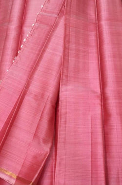 Pink Handloom Kanjeevaram Linen Silk Saree Without Border - Luxurionworld