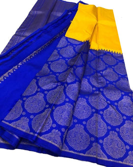 Blue and Yellow Half & Half Handloom Kanjeevaram Pure Silk Saree - Luxurionworld