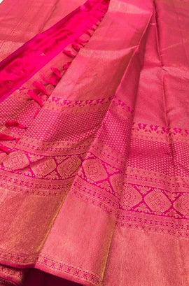 Pink Handloom Kanjeevaram Pure Silk Saree - Luxurionworld