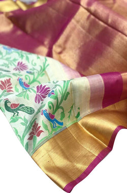 Off White Handloom Kanjeevaram Pure Silk Peacock Design Saree With Pink Border - Luxurionworld