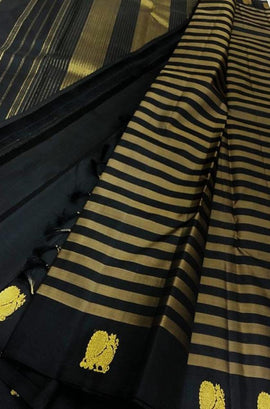 Black Handloom Kanjeevaram Pure Silk Saree