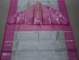 Silver Checks Handloom Kanjeevaram Pure Silk Saree - Luxurionworld
