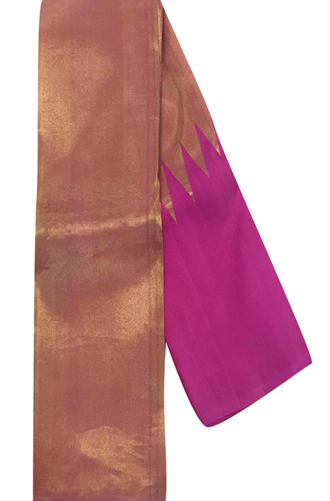 Pink Handloom Kanjeevaram Pure Silk Half And Half Saree Without Border - Luxurionworld
