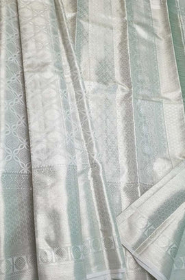 Silver Handloom Kanjeevaram Pure Silk Saree - Luxurionworld